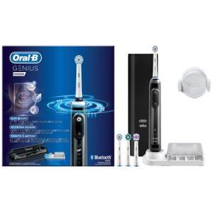 Periuta de dinti electrica Oral B Genius 10 Smartring 6 programe 4 capete Bluetooth Li ion Trusa de calatorie Negru
