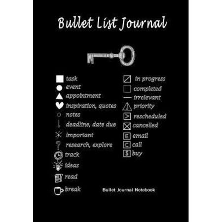 """Bullet List Journal: Bullet Journal Notebook: Improve Your Effectiveness with This Bullet Journal, 120 Pages, 7"""" X 10"""" Black, Blank Books Journals (Author)"""