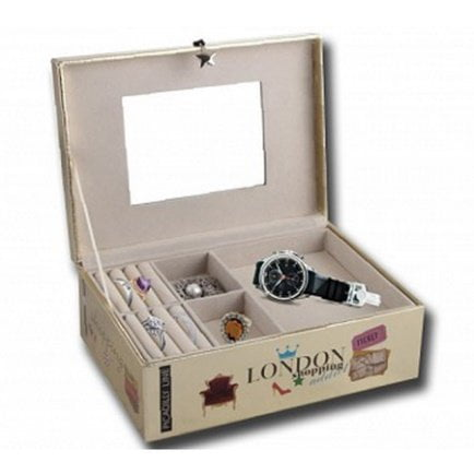 Cutie bijuterii / ceasuri, caseta Shopping Adict cu 2 sertare suprapuse, caseta ceasuri si bijuterii, cutie bratari, inele, lantisoare, cercei, cu oglinda, Deluxa London, 23 x 16.5 x 9 cm, auriu