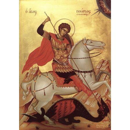 Icoana cu Rama si Sticla Sfantul Mare Mucenic Gheorghe, 30 x 22 cm