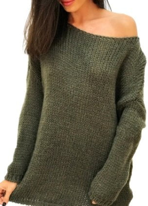 Pulover lana kaki cu maneci lungi, XOXO OUTFIT, One Size INTL