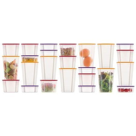 Set 24 de caserole din plastic cu capac si suport rotativ, Appetitissime, 3 dimensiuni