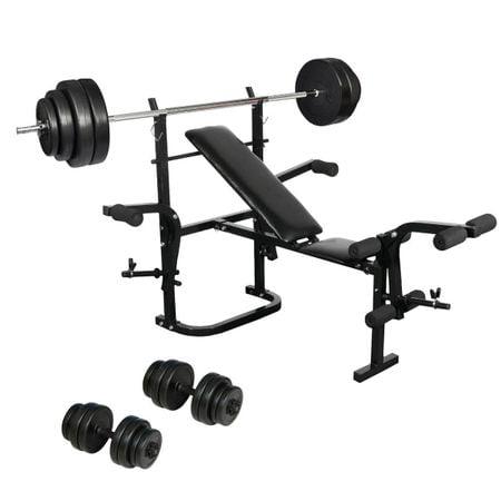 Set Banca fitness, haltera 60 kg si set gantere 30 kg