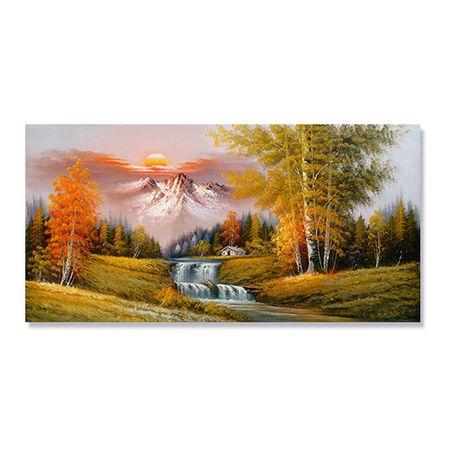 Tablou Canvas - Peisaj, Cascada, Munte, Copaci, Casuta, Toamna, Apus de soare, 50 x 100 cm