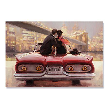 Tablou Canvas - Pereche, Iubire, Romantic, Masina Rosie, 80 x 120 cm