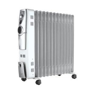 Calorifer electric cu ulei Heinner HCU-S13, 13 elementi, 2500 W, 3 trepte de putere, termostat ajustabil, Alb