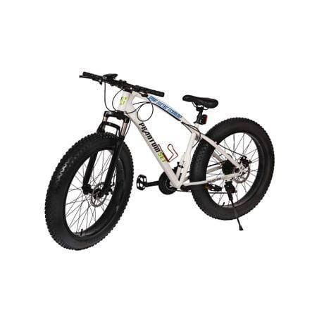 Bicicleta Fat Bike Phantom SET Alb, 26 Inch, Suspensie Furca, Schimbatoare Shimano, Viteze 3x7