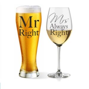 Set 2 pahare Mr. Right and Mrs. Always Right