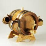 Set butoi din lemn cu 4 pahare din ceramica
