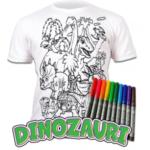 Tricou de colorat cu markere lavabile Dinozauri