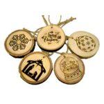 Set x 5 ornamente globuri pentru bradul de Craciun din lemn masiv handmade